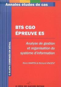Annales BTS CGO épreuve E5 : étude de cas BTS comptabilité et gestion des organisations