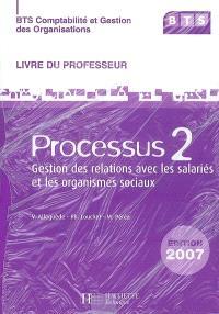 BTS comptabilité et gestion des organisations : processus 2, gestion des relations avec les salariés et les organismes sociaux : livre du professeur