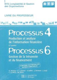 BTS comptabilité et gestion des organisations : processus 4, 2e partie, production et analyse de l'information financière, processus 6, gestion de la trésorerie et du financement : livre du professeur