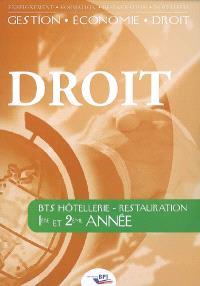 Droit : BTS hôtellerie-restauration, 1re et 2e années