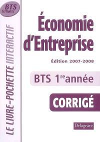 Economie d'entreprise, BTS tertiaires 1re année : corrigé