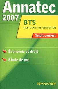 Economie et droit, étude de cas, BTS assistant de direction : sujets corrigés