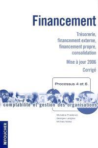 Financement, processus 4 et 6 : trésorerie, financement externe, financement propre, consolidation : corrigé