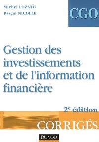 Gestion des investissements et de l'information financière : corrigés