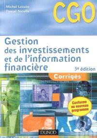 Gestion des investissements et de l'information financière : corrigés : processus 4 et 5
