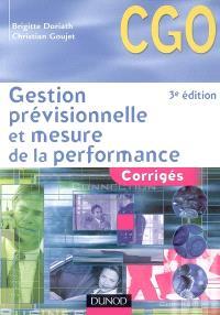 Gestion prévisionnelle et mesure de la performance : corrigés