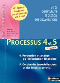 Processus 4 et 5 : production et analyse de l'information financière, gestion des immobilisations et des investissements : BTS CGO 1re année