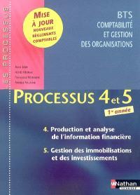 Processus 4 et 5, BTS comptabilité et gestion des organisations 1re année : production et analyse de l'information financière, gestion des immobilisations et des investissements