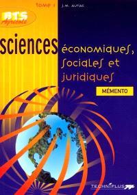 Sciences économiques, sociales et juridiques. Volume 1
