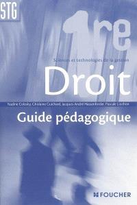 Droit 1re Sciences et technologie de la gestion : guide pédagogique
