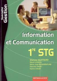 Information et communication 1re STG spécialité gestion