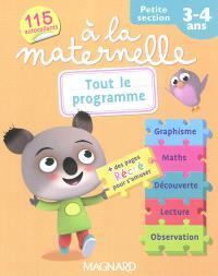 A la maternelle, petite section, 3-4 ans : tout le programme