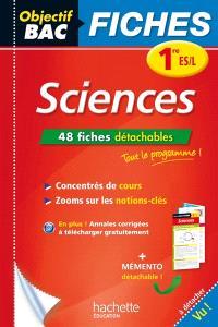 Sciences, 1re ES/L : 48 fiches détachables