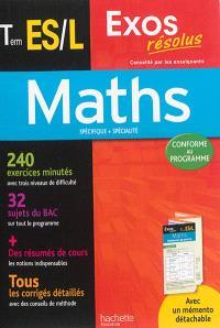 Maths terminale ES, L : spécifique + spécialité