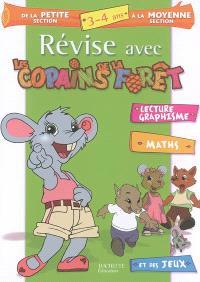 Révise avec les copains de la forêt, de la petite section à la moyenne section, 3-4 ans : lecture, graphisme, maths et des jeux