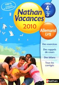 Nathan vacances 2010, de la 4e à la 3e : allemand, LV2