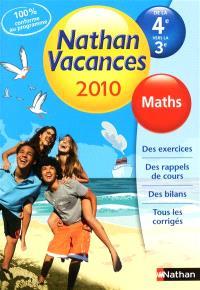 Nathan vacances 2010, de la 4e vers la 3e : maths