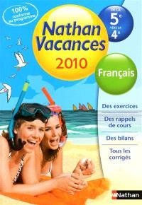 Nathan vacances 2010, de la 5e vers la 4e : français