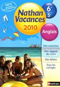 Nathan vacances 2010, de la 6e vers la 5e : anglais