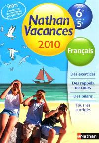 Nathan vacances 2010, de la 6e vers la 5e : français