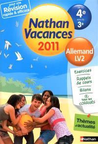 Nathan vacances 2011, de la 4e vers la 3e : allemand, LV2