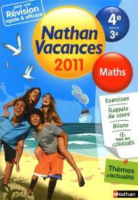 Nathan vacances 2011, de la 4e vers la 3e : maths