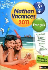 Nathan vacances 2011, de la 5e vers la 4e : français