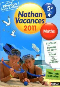 Nathan vacances 2011, de la 5e vers la 4e : maths