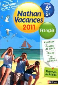 Nathan vacances 2011, de la 6e vers la 5e : français