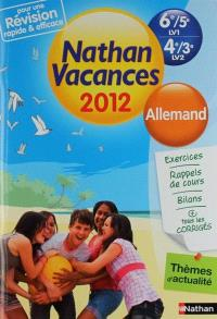 Nathan vacances 2012, 6e-5e LV1, 4e-3e LV2 : allemand