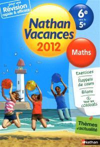 Nathan vacances 2012, de la 6e vers la 5e : maths