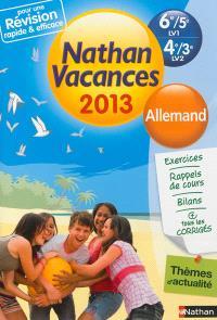 Nathan vacances 2013, 6e-5e LV1, 4e-3e LV2 : allemand