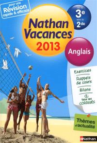 Nathan vacances 2013, de la 3e vers la 2de : anglais