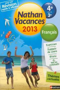 Nathan vacances 2013, de la 4e vers la 3e : français
