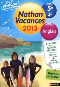 Nathan vacances 2013, de la 5e vers la 4e : anglais
