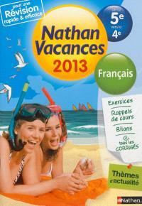Nathan vacances 2013, de la 5e vers la 4e : français