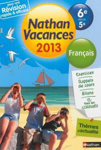 Nathan vacances 2013, de la 6e vers la 5e : français