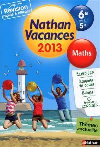 Nathan vacances 2013, de la 6e vers la 5e : maths