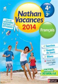 Nathan vacances 2014, de la 4e vers la 3e : français