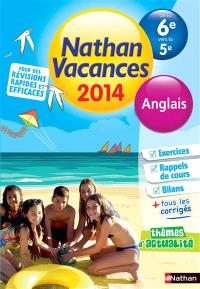 Nathan vacances 2014, de la 6e vers la 5e : anglais