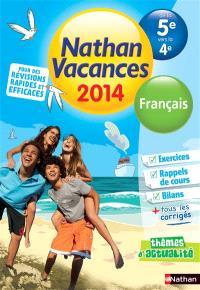 Nathan vacances 2014, français, de la 5e vers la 4e
