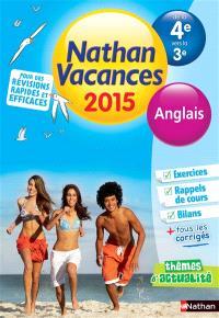 Nathan vacances 2015, de la 4e vers la 3e : anglais