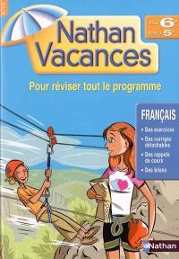 Nathan vacances français de la 6e vers la 5e : pour réviser tout le programme