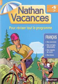 Nathan vacances français, de la 4e vers la 3e : pour réviser tout le programme