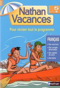 Nathan vacances français, de la 5e vers la 4e : pour réviser tout le programme