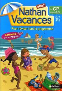 Nathan vacances, du CP vers le CE1, 6-7 ans : pour réviser tout le programme
