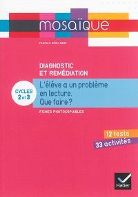 Diagnostic et remédiation, cycles 2 et 3 : l'élève a un problème en lecture, que faire ? : fiches photocopiables