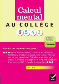 Calcul mental collège : CD-ROM : version enseignant
