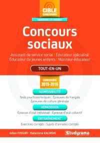 Concours sociaux : assistant de service social, éducateur spécialisé, éducateur de jeunes enfants, moniteur-éducateur : tout-en-un, concours 2015-2016