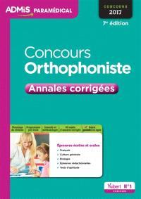 Concours orthophoniste : annales corrigées : concours 2017